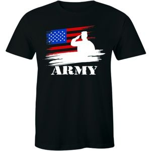 Army Officer Salute Against American Flag T-shirt